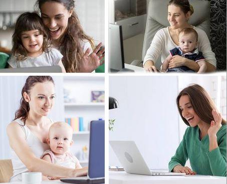 Online-Stillgruppe mit 4 Mamas, die sich am Laptop unterhalten
